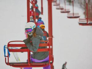 Skier on lift